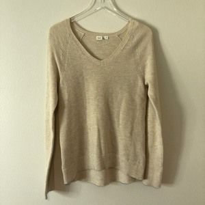 GAP Cream Textured Knit V Neck Sweater Top